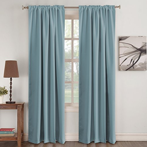 Turquoize Insulated Thermal Back tab/Rod- Pocket Blackout Curtains, Stone Blue, Solid Curtains for Living room, 52