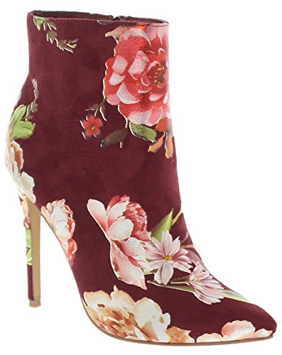 Pointy Toe Bootie - Shoe Republic Pointy Toe Bootie Designed in Floral Tacia (Wine 10)