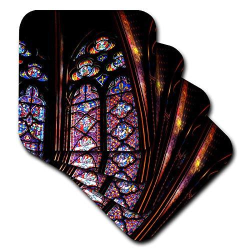 3dRose Elysium Photography - Architecture - Stained glass in La Sainte-Chapelle, Paris - set of 8 Ceramic Tile Coasters (cst_289632_4)