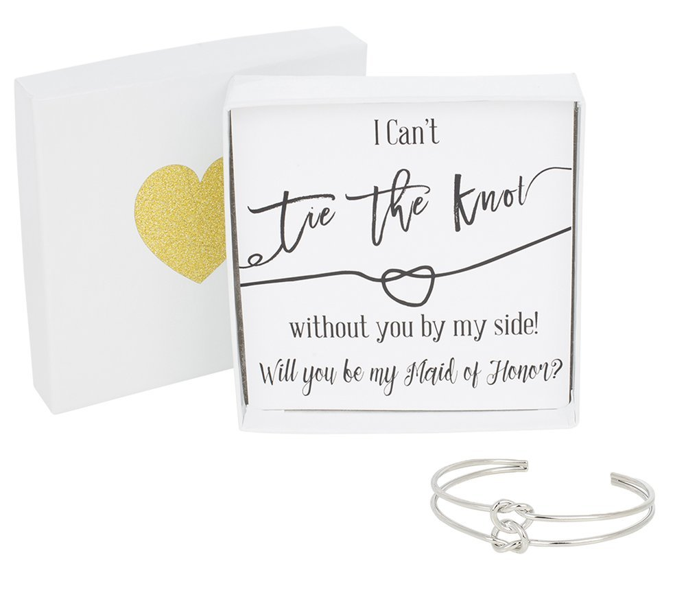 Bridesmaid Gifts - Tie The Knot Maid of Honor Cuff Bracelet with Gift Box, Double Love Knot Cuff Bracelet, Wedding Party Gift Sets (Black Note Silver Bracelet) by Lemon Honey Jewelry