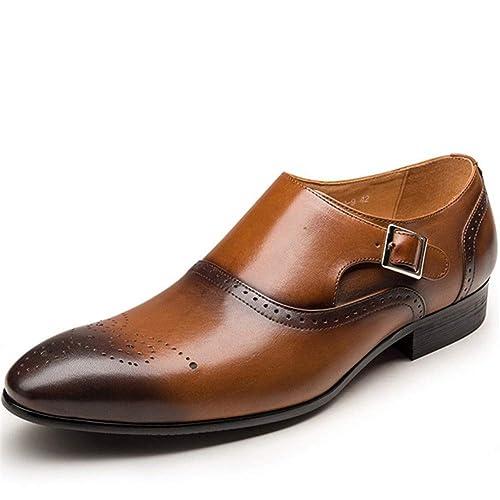 2f345c65ffb3 Scarpe Uomo Formale Vintage Accento Oxford Scarpe Moda PU Pelle Doppio Monk  Fibbia Cinturino Scarpe per Abito da Sposa  Amazon.it  Scarpe e borse