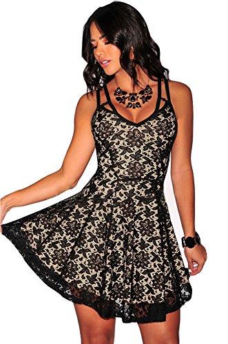 79d1db4eba0f60 Nuovo elegante motivo floreale, da donna, per abiti da sera o da Skater  Dress