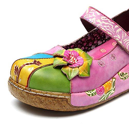 Ciabatte Da Donna Socofy, Sandali Slip-ons Pantofola In Pelle Vintage Zoccoli Pantofole Alte Scarpe Con Espadrillas Fiori Alte Mocassini Pantofole Rosa