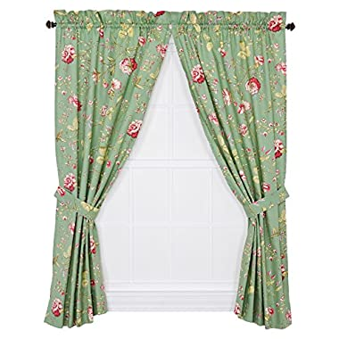 Ellis Curtain Coventry Medium Scale Floral 68 by 63-Inch Tailored Panel Pair Curtains with Tiebacks, Green