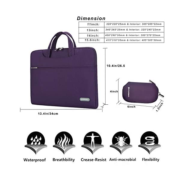 YOUPECK-Water-Repellent-10-11-116-Inch-Tablet-Laptop-Shoulder-Bag-for-MacBook-Air-11-12-Surface-Pro-iPad-Pro-Polyester-Protective-Messenger-Briefcase-Men-Women-Carrying-Handbag-Sleeve-Case-Purple