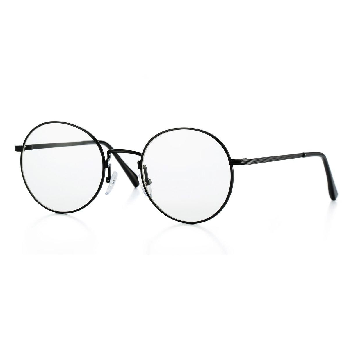 cc8c54426312 Amazon.com  AZORB Non-prescription Round Clear Lens Glasses Circle Eyeglasses  Frame (Black