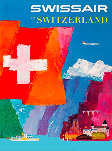 A SLICE IN TIME Swissair to Switzerland Suisse Europe Vintage Airline Airlines Travel Home Collectible Wall Decor Advertisement Art Poster Print. Measures 10 x 13.5 inches