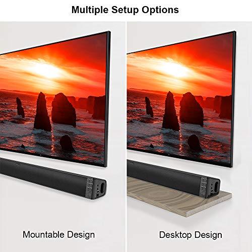 Surround Sound Bar, dodocool 32-Inch Wired & Wireless BT 4.2 Stereo Soundbar, Three Equalizer Mode Audio Speaker for TV, USB/SD/AUX Input, Wall Mountable, Remote Control