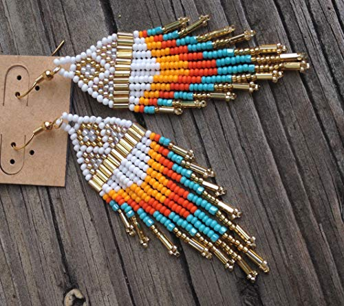 Pacific Sunrise Turquoise, Gold, Orange Traditional Beaded Earrings