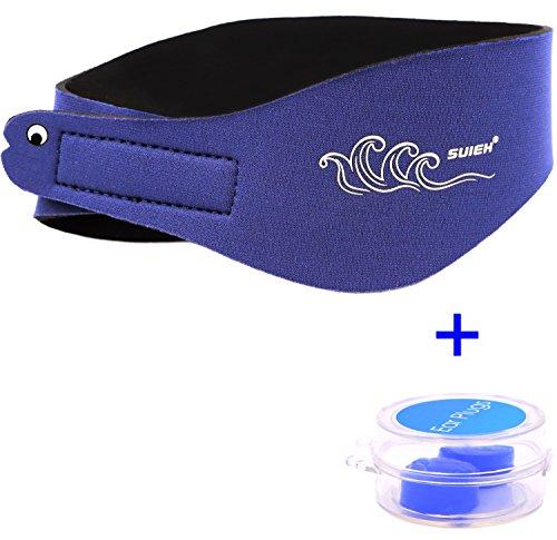SUIEK Swimming Headband with Free Swimming Earplugs (Navy, Large: (Fit Head Size range 18