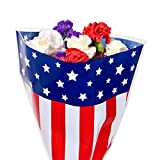 Stars and Strips Print Cut Flower Bouquet Sleeves - Measure 13'' Diameter x 16'' Tall x 4'' at the Bottom