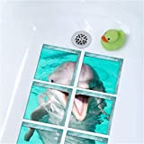 Non-Slip Shower Stickers, Moonvvin Safety Bathtub Sticker Grips Adhesive Non-Toxic, Anti-Bacterial, Mold & Mildew Resistant (Dolphin)