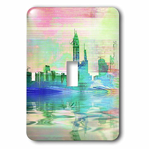 Metropolis Clock (3dRose Andrea Haase Urban Art - Blue And Green Abstract Modern City Illustration - Light Switch Covers - single toggle switch (lsp_274706_1))