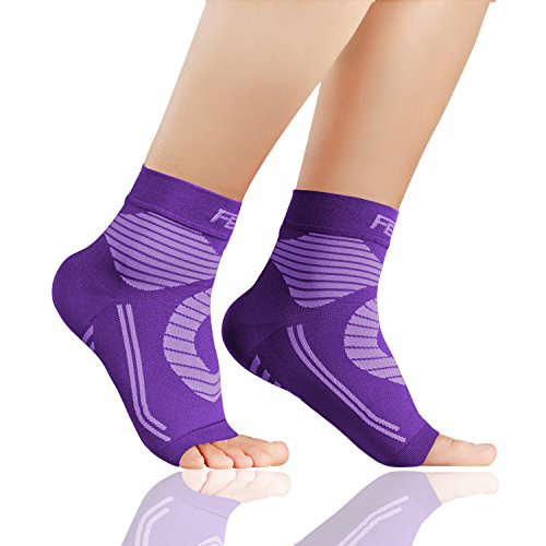 Featol Plantar Fasciitis Socks with Arch Support Ankle Support for Men and Women, Ankle Compression Socks Foot Sleeve to Relieve Arch Pain, Better than Night Splint (Purple, L) -