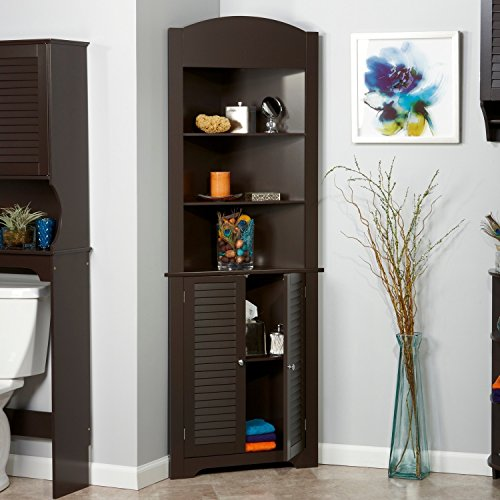 Tall Corner Etagere with Brown Shutter Door Corner CabinetRoom Décor Furniture Corner Wall Cabinet Corner Storage Cabinet Corner Bathroom Cabinet Corner Cabinet Shelf Corner Kitchen Cabinet (Brown) by King Bath