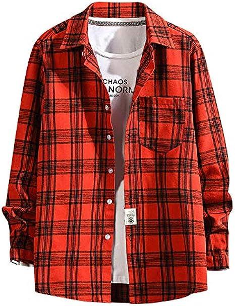 YEBIRAL Camisetas Hombre Tallas Grande Casual Moda Suelto Manga Larga con Bolsillo Delantero Impresión de Celosía Camisas Blusa(M-5XL)(L, Rojo): Amazon.es: Ropa y accesorios