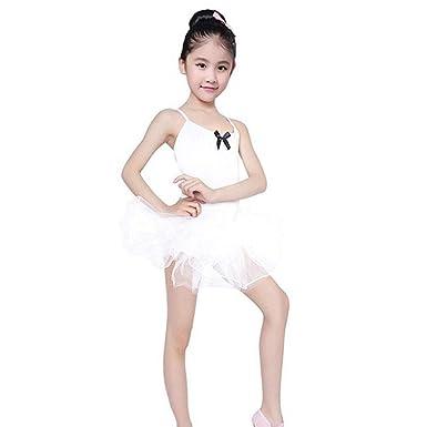 NIUQY Niños Toddler Ballet Body Falda Tul niña niña niña Leotard ...