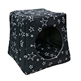 Cheap FY-LIVING Cute Super Soft Warm Pet Waterloo Bed House Nest for Cats&Dogs(Puppy) Indoor for Winter with Removable Cushion,Black with Stars Pattern