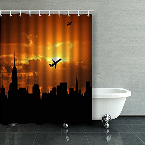 Shower Curtains Planes Departing Midtown Manhattan Sunset Illustration New York Jets 60Wx72L Inches Home Decorative Waterproof Polyester Fabric Bathroom Decor Bath ()