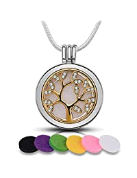 "Infuse U Aromatherapy Diffuser Necklace Tree of Life Essential Oil Locket Pendant Silver + Gold Plated with 6PCS Refill Pads & 24"" Snake Chain Cubic Zirconia Women Jewelry Meaningful Gift"