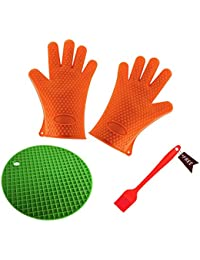 Want (3 Pieces) Silicone Heat-Resistant Gloves & Basting Brush & Pot Holder,Cooking Gloves for Barbecue,Oven Baking... online