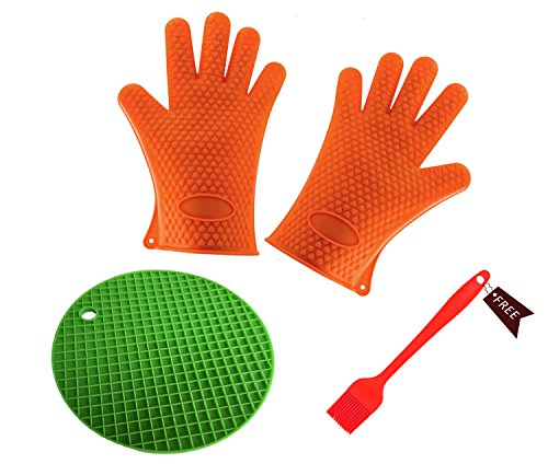 (3 Pieces) Silicone Heat-Resistant Gloves & Basting Brush,Cooking Gloves for Barbecue,Oven Baking,Smoking & Potholder