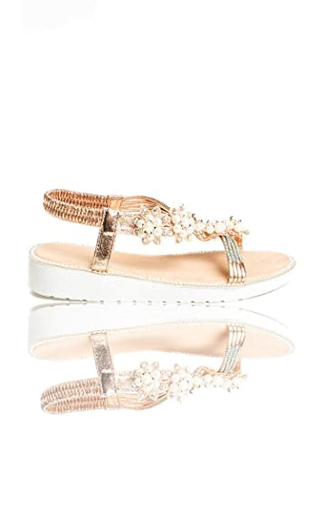 25ae169a4055 IKRUSH Women s Ains Iridescent Pearl Embellished Sandals Size in Champagne