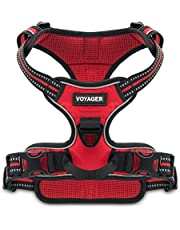 Voyager by Best Pet Supplies, Dual-Attachment No-Pull Adjustable Harness with 3M Reflective Technology, (Red Lattice, Small)