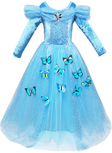AkiWoo New Princess Dress Up Party Cosplay Outfit Butterfly Layered Skirt Easter Basket Stuffers (Top 10 Halloween Costumes 2017)