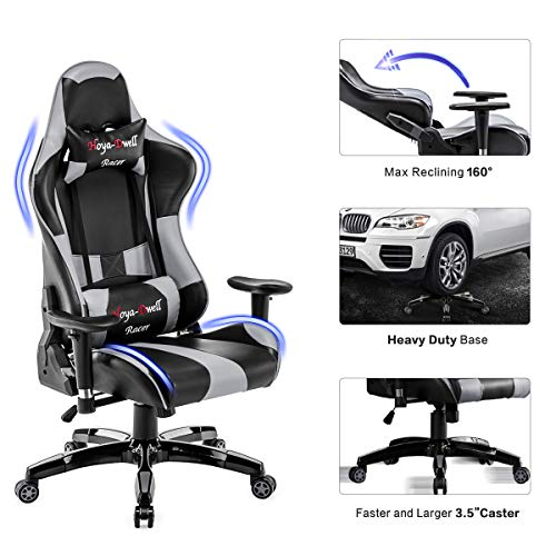 HomeMiYN Ergonomic Video Game Chairs PU Leather Desk Chair Adjustable Swivel Computer Chair with Removable Headrest and Lumbar Support