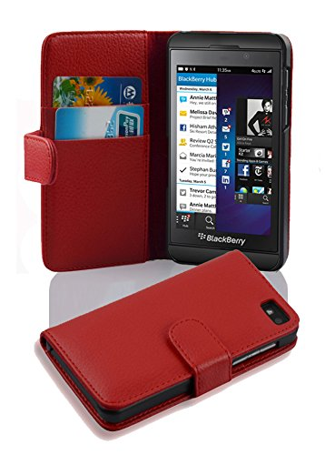 Cadorabo Case Works with BlackBerry Z10 in Candy Apple RED (Design Book Structure) - with 2 Card Slots - Wallet Case Etui Cover Pouch PU Leather Flip