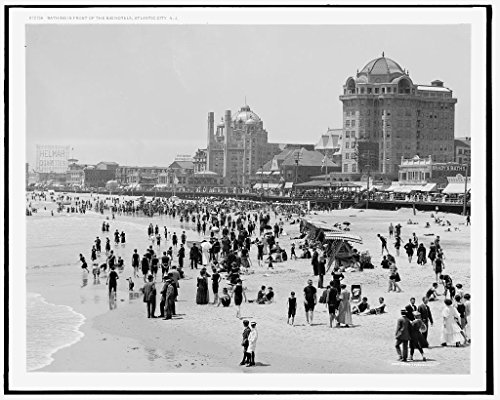 Vintography 16 x 20 Ready to Hang Canvas Wrap Bathing in Front of The Big Hotels Atlantic City N J 1915 Detriot Publishing 12a