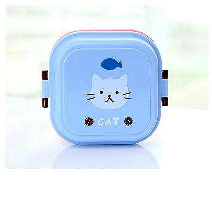 Caja de desayuno para niños Cartoon doble capa cajas caja de Lunch microondas Snack protección del