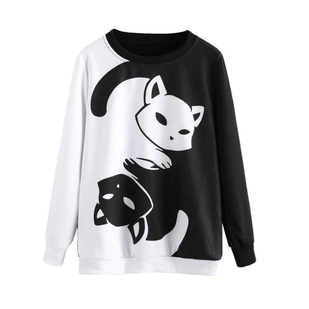 KaiCran Fashion Sweatshirt For Womens Cat Printing Long Sleeve Sweatshirt Pullover Tops Blouse (Black, Small)