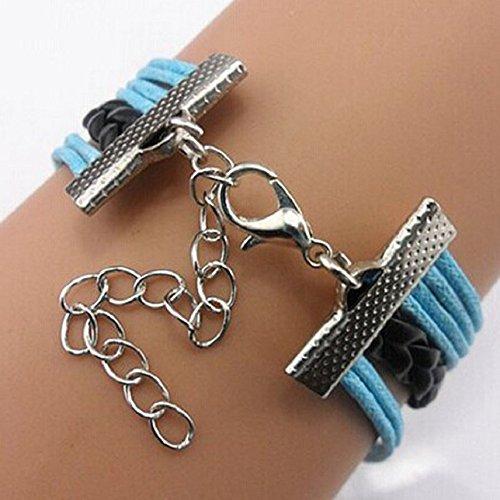 Shensee Female Fashion DIY Adjustable 8 Cross Wolf Charms Multilayer Bracelet Wristband Blue