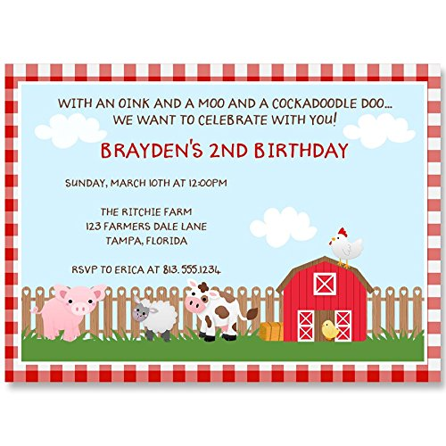 Birthday Party Invitations, Barnyard Birthday, Red, Blue, Brown, Red Gingham, Pig, Cow, Sheep, Chicken, Barn Party Invite, Set of 10 Custom Printed Invites with Envelopes