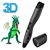 3D Printing Pen, QPAU Intelligent 3D Pen 3D Pencil with OLED Display Include Safety Pen Holder and 2 Free 1.75 mm Filament Refills for Creating Children's Imagination and Practical Ability Black