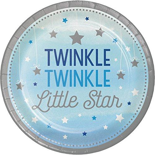 One Little Star Boy Paper Plates, 24 (Twinkle Twinkle Little Star Paper Plates)