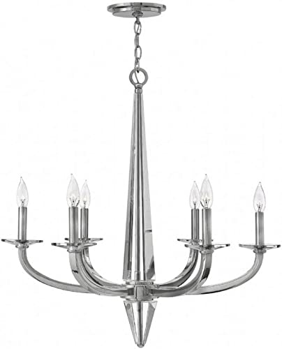 Hinkley 4756PN Transitional Six Light Foyer from Ascher collection in Chrome, Pol. Nckl.finish,