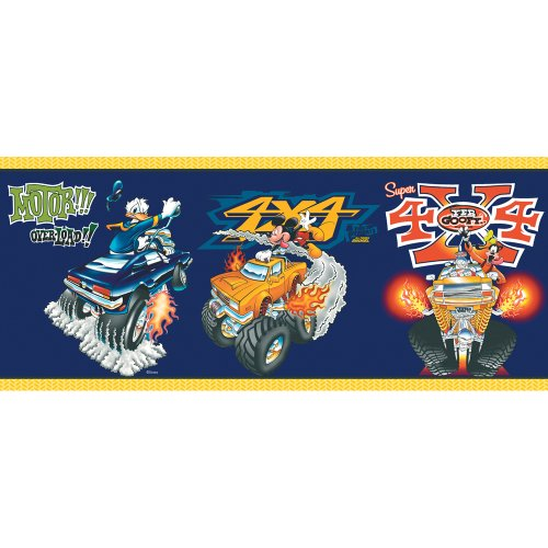 Imperial Disney Home DF059201B Mickey Monster Truck Border, Navy Blue, 10.25-Inch Wide - Monster Truck Wall Border