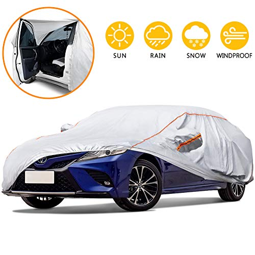 "Tchipie 177""-191"" Car Cover for Automobiles All Weather Waterproof, Anti-Scratch Outdoor Sedan SUV Covers with Zipper Door and Reflective Strips, Adjustable Straps for Windproof"