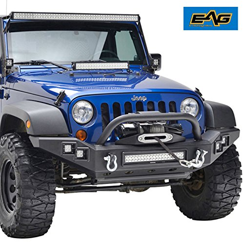 EAG JK Jeep Wrangler 07-17 Full Width Front Bumper With LED Accent Light