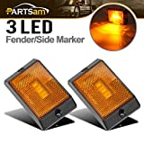 "Automotive : Partsam 2 Pcs Amber Yellow Front Side Marker/Clearance Light with Reflex Lens with Black Surface Mount Base, 2-4/5"" Rectangle LED Truck Trailer Light Towing Accessories"