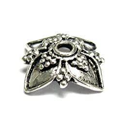 2 pcs .925 Sterling Silver Flower Bead Cap 16mm / Findings / Antiqued