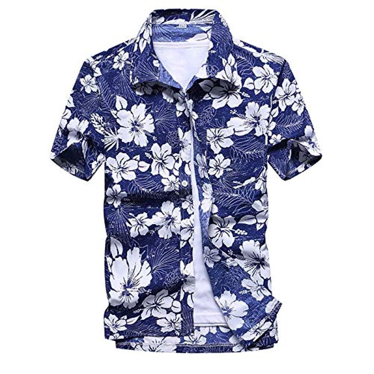 [해외] 화려한 셔츠 맨즈 비치 셔츠 반소매 셔츠 속건초경량 프린트 셔츠 여름 이벤트 제사(축제) 일본 무늬 셔츠 하와이안 셔츠 [UV컷 자외선 대책 가공]