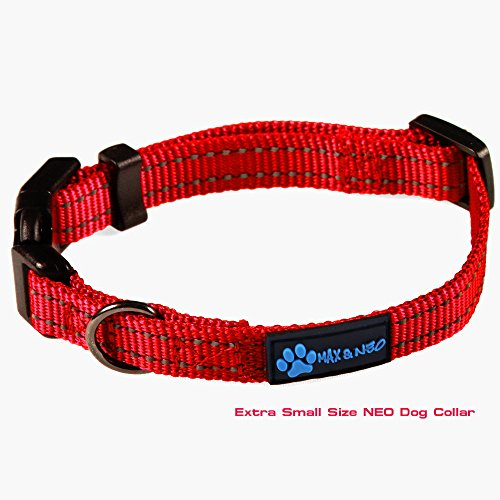 Max and Neo&Trade; NEO Nylon Buckle Reflective Dog Collar - We Donate a Collar to a Dog Rescue for Every Collar Sold (X-Small, RED)