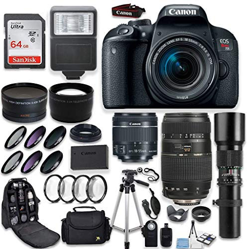Canon EOS Rebel T7i DSLR Camera + Canon EF-S 18-55mm + Tamron 70-300mm & 500mm Telephoto Lens + Wide Angle & Telephoto Lens + Macro Filter Kit + 64GB Memory + Accessory Kit Special