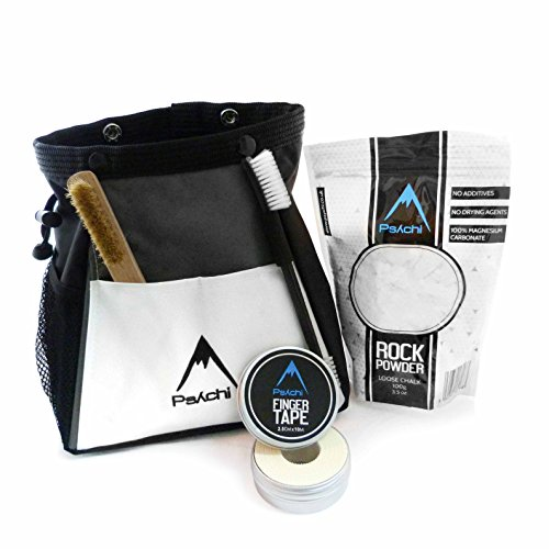 Psychi Abyss Chalk Bouldering Bucket Stand Bag Starter Bundle for Bouldering Rock Climbing with Chalk Tape and Brush (White)