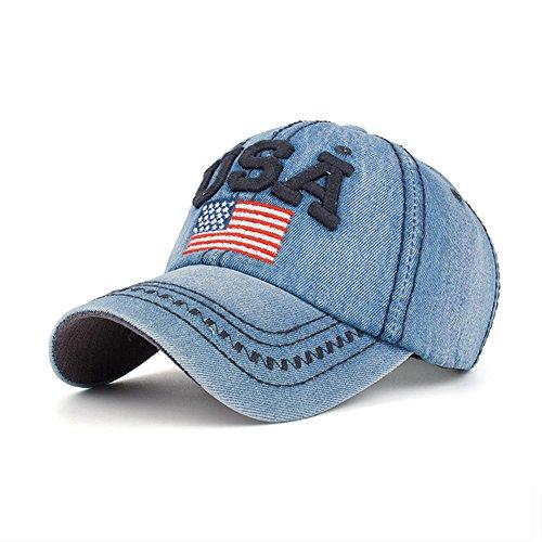 Unisex Baseball Cap USA American Flag Embroidered Cotton Denim Baseball Cap Hat