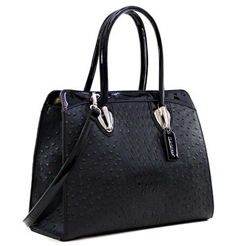 Dasein Women's Ostrich Embossed Structured Top Handle Convertible Tote Work Satchel Shoulder Strap Black - Black Faux Ostrich